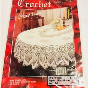 ❌Sold❌ Vinyl Crochet Lace Tablecloth